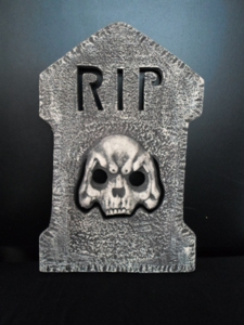 Light up gravestone with skull
