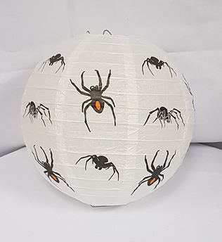 White paper lantern with spider design.