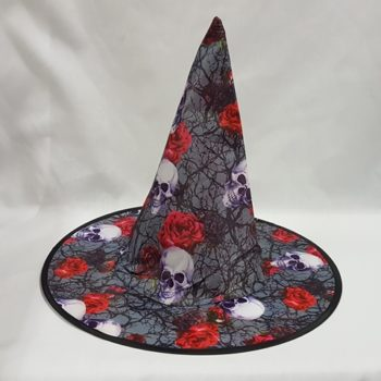 Witch hat with skull & rose design