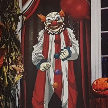 Creepy clown door cover