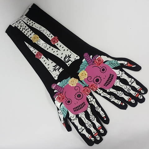 Day of the Dead long gloves