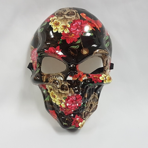 Day of the Dead mask black with flower design