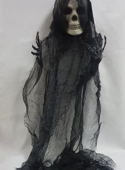Hanging skeleton prop with gauze fabric