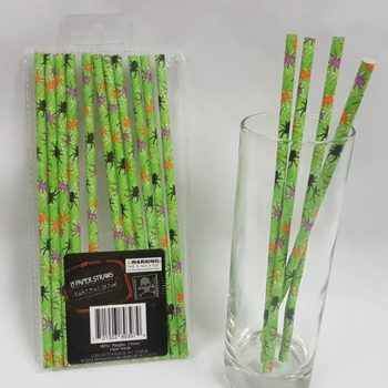 Paper straws with spider design