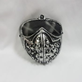 Silver spike mask with mesh eyes