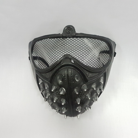 Spiked half face mask with mesh eyes