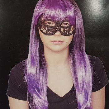 Wig - long purple & black with fringe