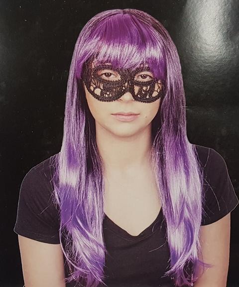 Wig - long purple & black with fringe