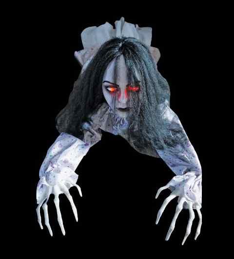 Animated crawling zombie girl