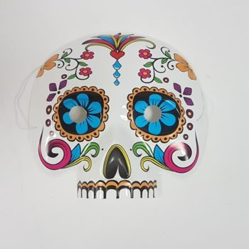 Day of the Dead half face mask with flowers