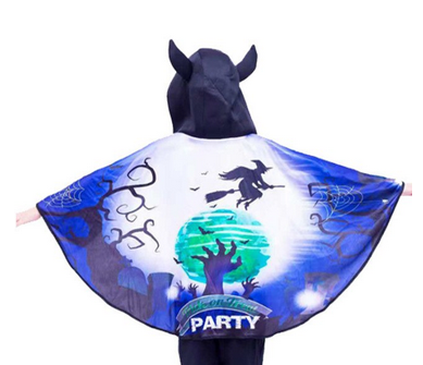 Halloween cape with horned hood - zombie hand