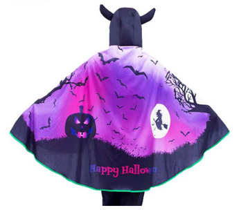 Halloween cape with pumpkin & witch