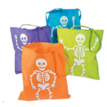 Neon skelton tote bag