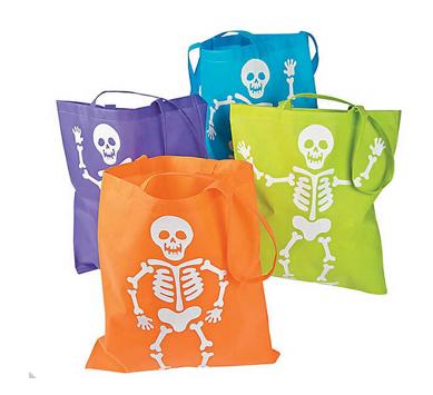 Neon skeleton tote bag