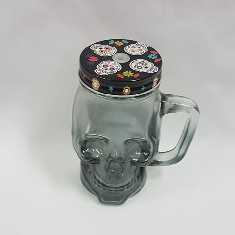 Day of the Dead skull mason jar - top