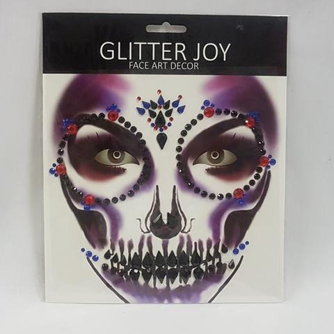 Face art - black-red-blue gems