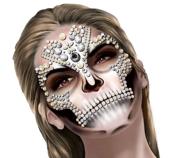 Face art decor diamante's & pearls