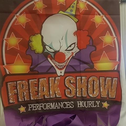Clown curtain freak show