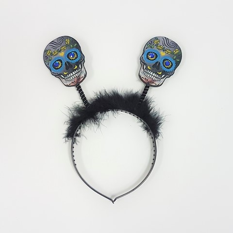 Day of the Dead head-boppers blue skulls