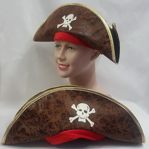 Distressed brown pirate hat