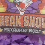 Freak show clown curtain