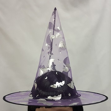 Mauve witch hat with silver bats