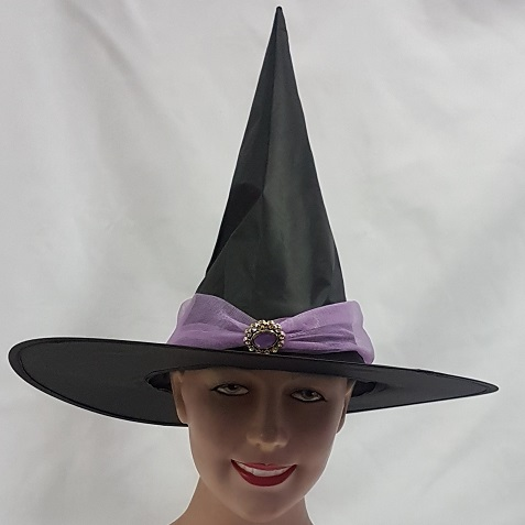 Witch hat with mauve band