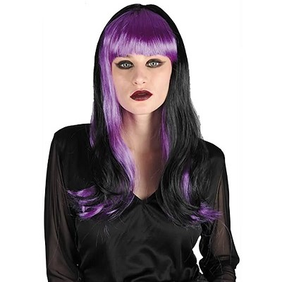 Black and purple wig with fringe