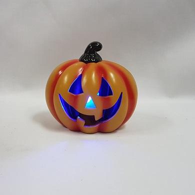 Pumpkin with blue flashing light
