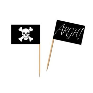 Pirate flag cake picks