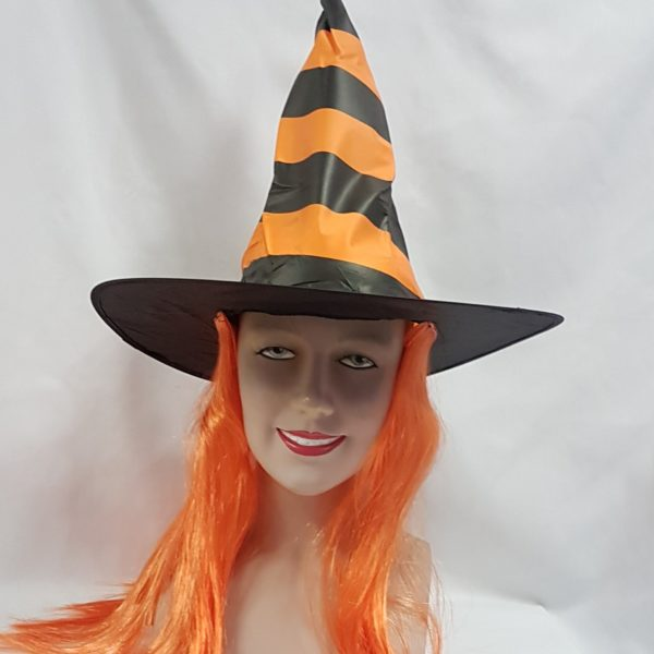 Orange stripe witch hat with hair