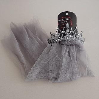 Tiara with grey veil