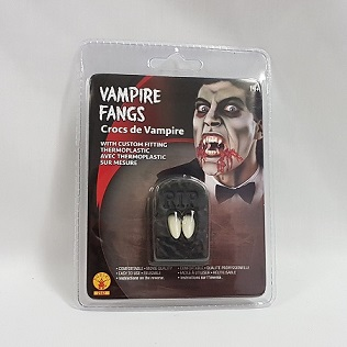 Vampire fangs with adhesive