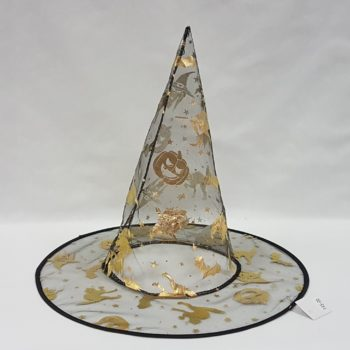Witch hat with cat & pumpkin design
