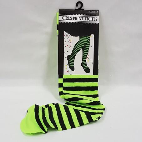 Green & black stripe tights