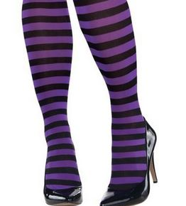 Purple & black stripe stockings