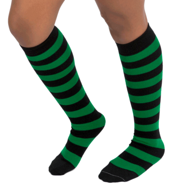 Green & black stripe socks