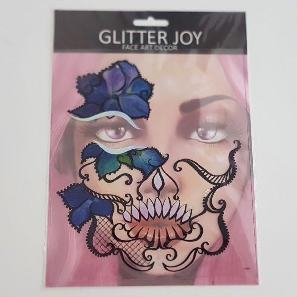 Face sticker blue flower
