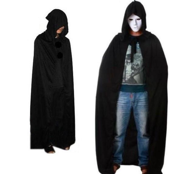 Black hooded cape