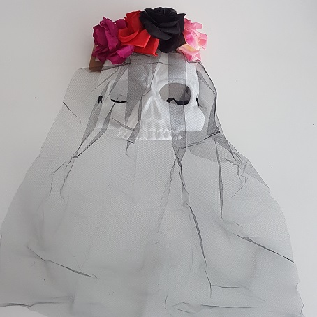 Day of the Dead skull mask with veil