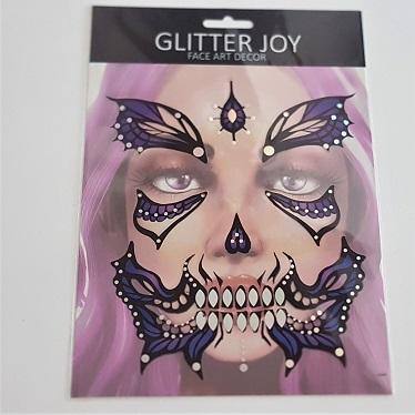 Face sticker purple butterfly design